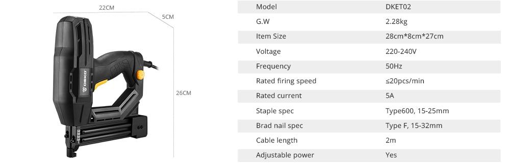 DEKO DKET02 Electric Tacker Product Parameters