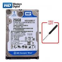 "WD marca 250Gb 2,5 ""SATA disco duro interno 250G HD Disco Duro 3-6 Gb/s 5400 RPM-7200 RPM Disco Duro azul para ordenador portátil envío gratis"