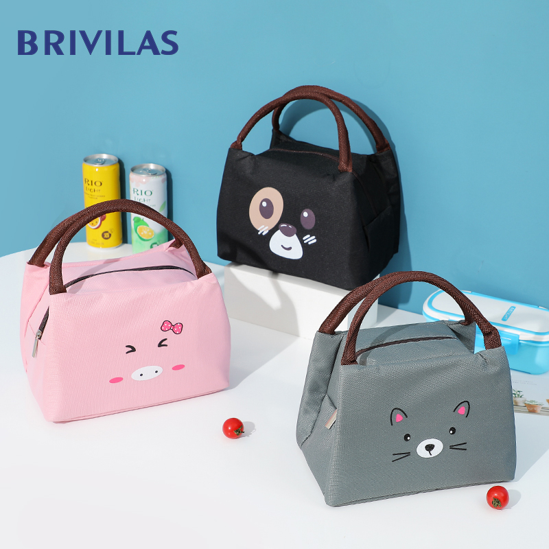 Brivilas Cute Cooler Bag Cartoon Kids Lunch Bags For Women Black Dog Thicken Thermal Breakfast Food Box Portable Picnic Travel