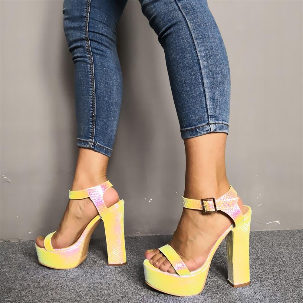 Karinluna 2019 Sexy plus Size 47 Party Sandals Women Shoes Fashion Platform Super High Heels ankle-strap Shoes Woman Sandals