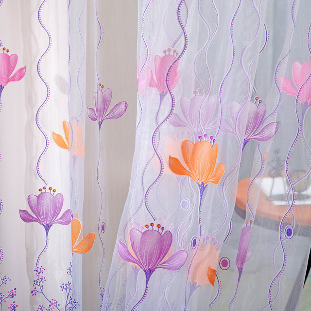 1 Panel Fabric Colorful Lotus Sheer Curtain High Quality Tulle Window Treatment Voile Curtain Drape Valance For Living room 3