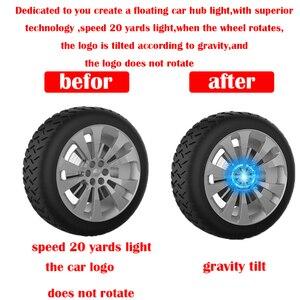 Image 3 - 4 ピース/セットホイールハブライトカーアクセサリー磁気サスペンション led フローティングホイールキャップ照明ハブキャップライト