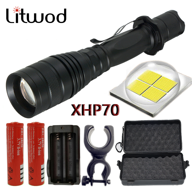 Litwod <font><b>32000</b></font> <font><b>lumens</b></font> flashlight most powerful zoomable led torch CREE XHP70 chip convoy lens torch 18650 Tactical LED flashlight image