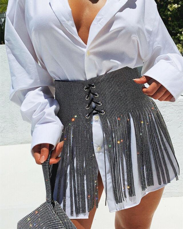 Shiny Full Rhinestone Crystal Wedding Belt Bridal Female Silver Long Fringe Tassel Women Bling Wide Bondage Belt Straps