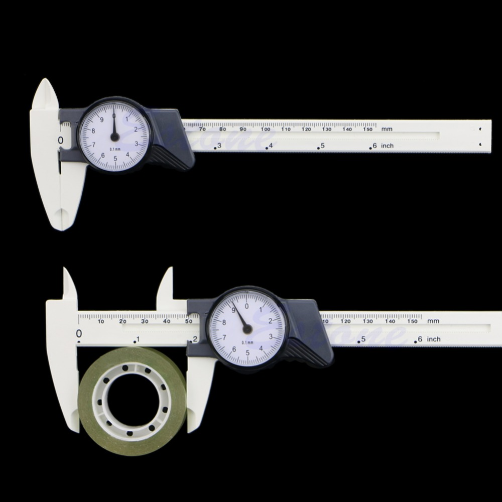 Drop Ship New 150mm 6inch Dial Caliper Plastic Vernier Caliper 4Way Gauge Micrometer 0.1mm
