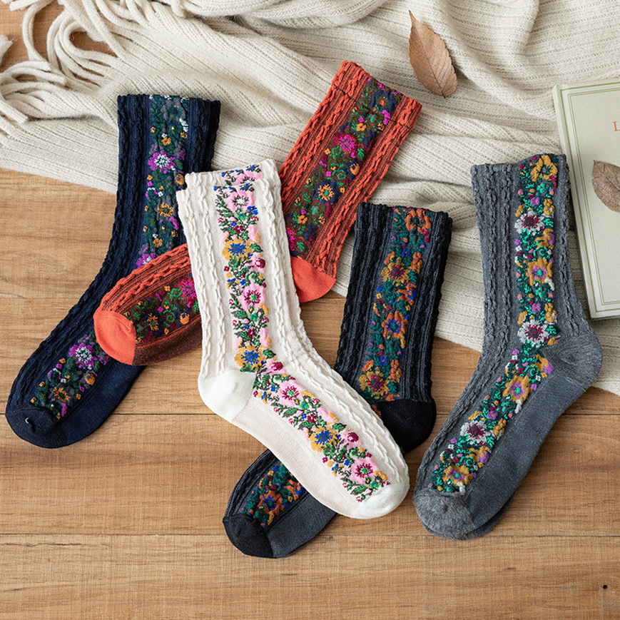Female Retro Socks Embroidered Printed Socks Boho Style Cotton Socks Personalized Art Cotton Socks Vintage Embroidered Socks