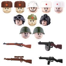 WW2 Military Soviet Union Soldiers Weapons building blocks Military Weapons PPSH Guns Helmets Bricks Weapons Parts blocks toys