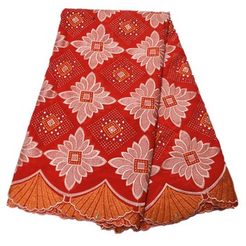 Latest design african voile lace fabric 2020 high quality red swiss voile lace cotton african lace fabric with stones for dress