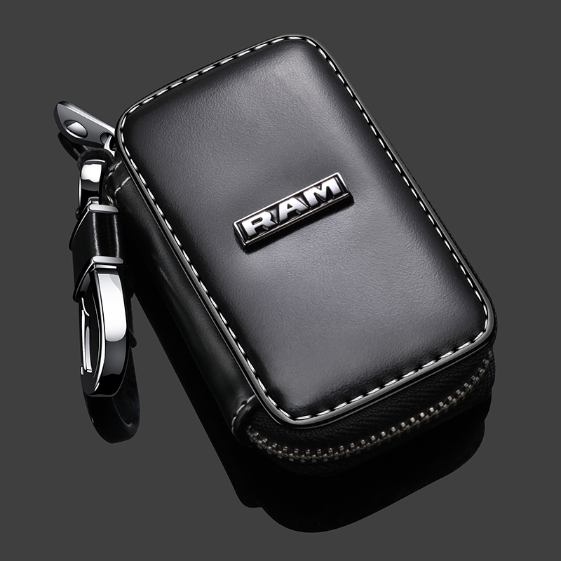 Leather Car Key Case LOGO Cover  For Dodge RAM Challenger Charger Magnum Journey Jeep Commander Grand Cherokee GMC Lada Keychain