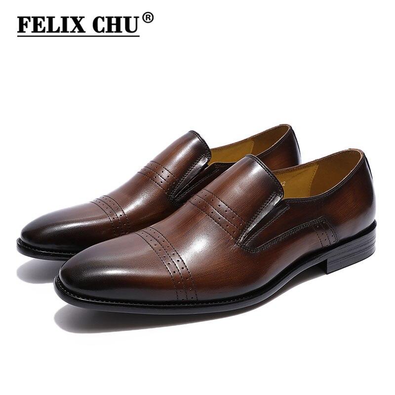 FELIX CHU clásico del casquillo del dedo del pie para hombre mocasines de cuero genuino italiano marrón negro resbalón boda Vestido de zapatos de trabajo de negocios zapatos de los hombres-in Mocasines from zapatos    1