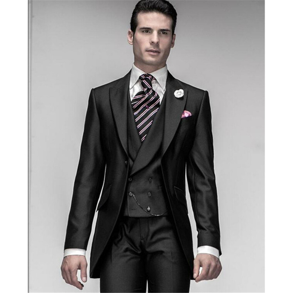 New Classic Men's Suit Smolking Noivo Terno Slim Fit Easculino Evening Suits For Men Costume Home Black Groom Tuxedos Groom  Gro