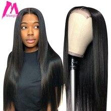 Lace closure wig straight Brazilian 4x4 bob lace front human hair wigs short for black women 28 30 inch long hd frontal virgin