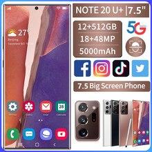 Smartphone Globale Version Galay Note20U + 7,5-zoll Telefon 12GB + 512GB Smart Telefon Android 10,0 4G/ 5G Handy