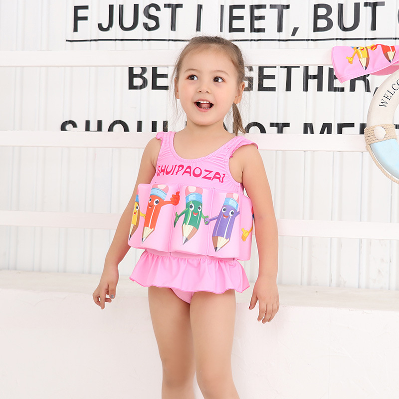 CHILDREN'S Swimsuit Girls Hot Springs Kids Baby Swimming GIRL'S Infant CHILDREN'S Floating One-piece Buoyancy Floating Bathing S