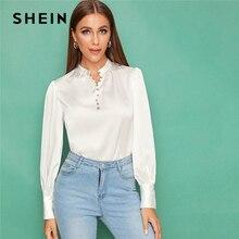 SHEIN blanco botón frontal linterna manga satén Top blusa sólida mujeres otoño Stand Collar Oficina señoras elegante Abaya blusas