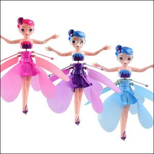 Mini drone RC drone Helicopter Infrared Induction Flyings Quadcopter Dolls Fairy Magical Princess Cute Doll LED light Fly Toy