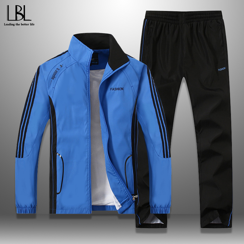 New Men's Set Spring Autumn Men Sportswear 2 Piece Set Sporting Suit Jacket+Pant Sweatsuit Men Clothing Tracksuit Set Outwear