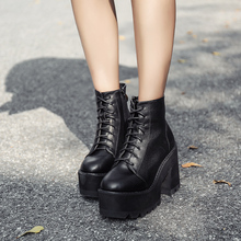 Купить с кэшбэком lace up Boots 2020 Fashion Thick Heel Ankle Boots Women High Heels Autumn Winter Woman Shoes black boots punk shoes YMA62-1