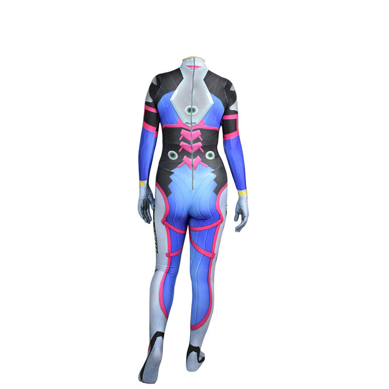 Game Overwatch Dva Cosplay Jumpsuit Costume Female Adult Child Zentai Wig Suits Lycra 3D Printing Romper Halloween Party 4