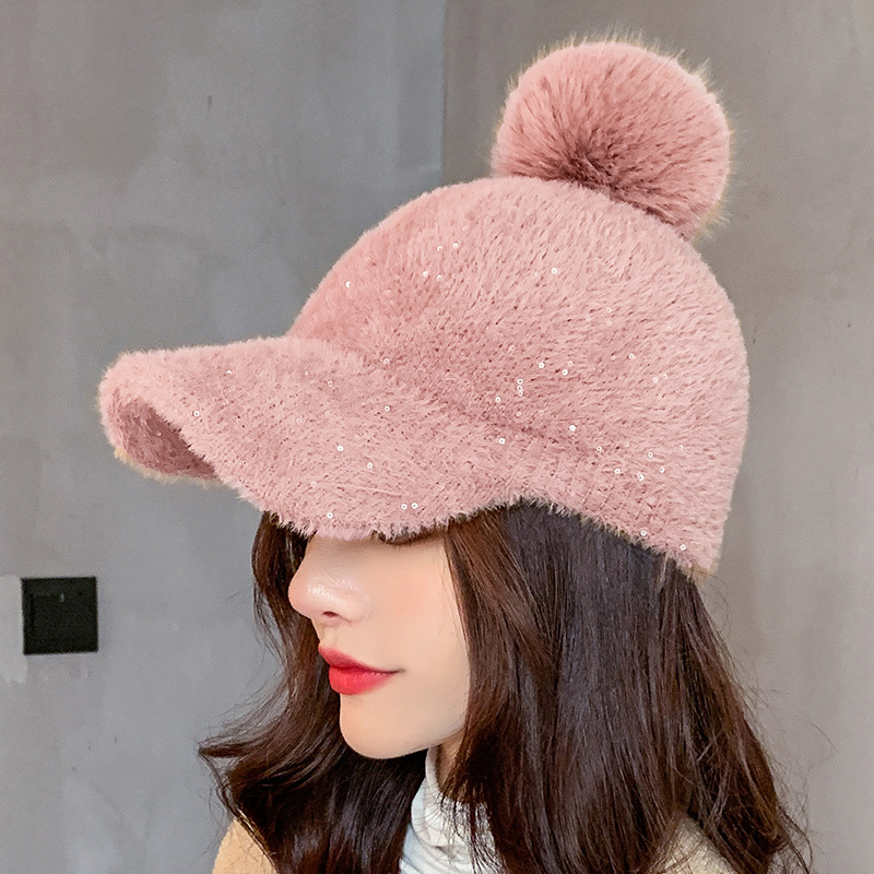 COKK Winter Hat Women Baseball Cap With Pompon Faux Fur Ball Cold Proof Thick Warm Solid Color Fashion Casual Gorras Female New 5