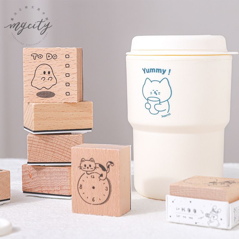 JIANWU 8 Styles  Lovely Fresh Bullet Journal Multi-functional DIY Wooden Rubber Stamps For Scrapbooking DIY Standard Stamp