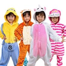 Children Pajamas Set Flannel Animal Stitch Unicorn Pegasus Costume Cosplay Hooded Kids Boys Girls Sleepwear Onesies Pyjamas недорого