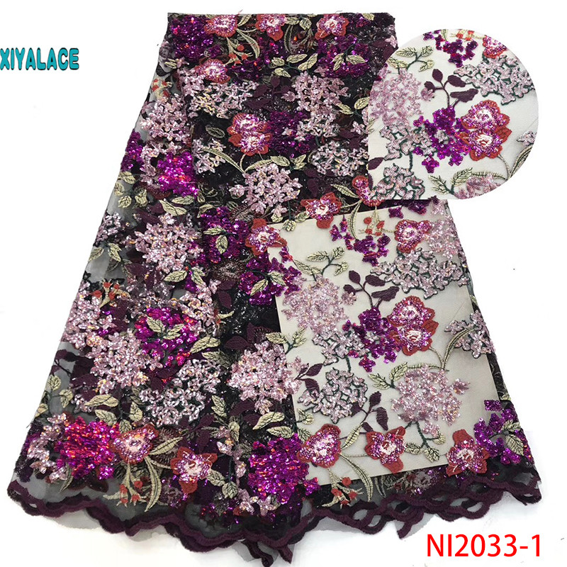 XIYALACE High Quality 2019 Tulle Sequins French Nigerian Lace Fabrics Embroidered African Lace Fabric For Women Dress NI2033-1