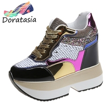 DARATASIA New Arrival Hot Sale INS Bling Sneakers Women Elegant Height Increasing Shoes Woman Fashion Flat Platform