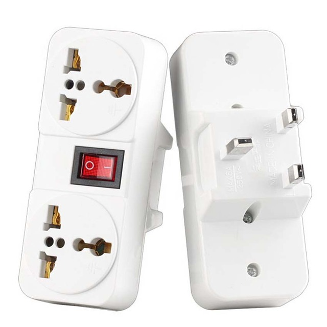 White Portable Universal Wall socket EU US UK extension socket 250V 6A 10A 125V power converter plug Adapter with on off switch
