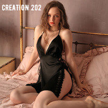 Creation 202 Women's Sexy Pajamas Deep V Open Back Nightdress Sexy Seductive Home Wear Suspender Nightdress