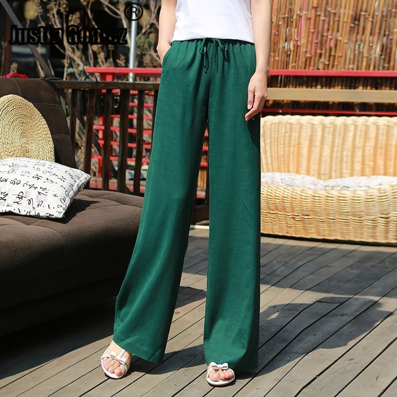 Women's Elastic Waist Casual Relax Capris Pants Cotton Linen Cropped Pants with Drawstring