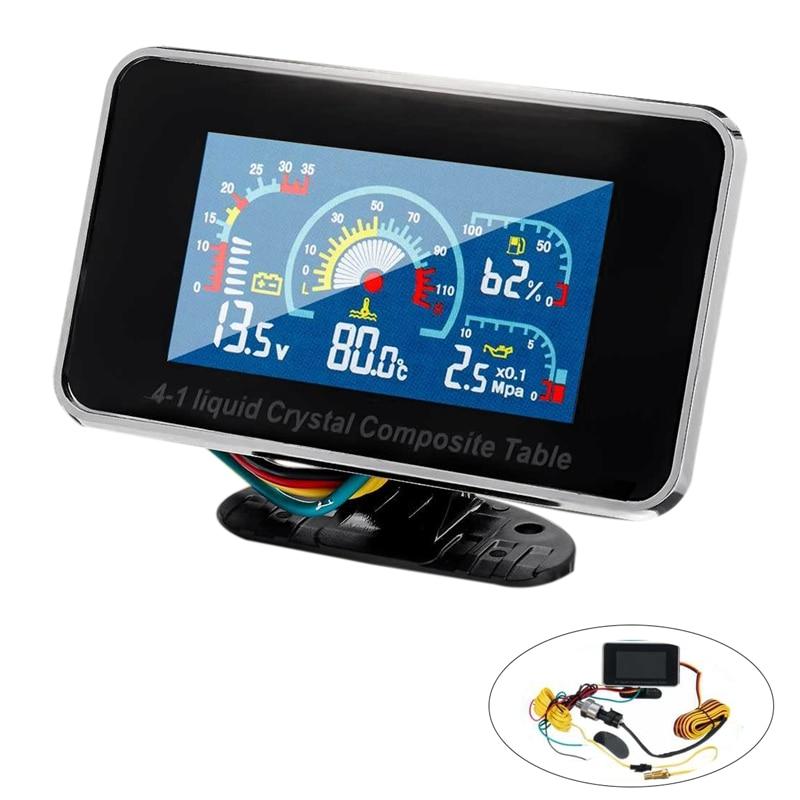 12V/24V 4 In 1 LCD Car Digital ALARM Gauge Pressure Voltmeter Volt Water Temperature Oil Pressure Fuel Gauge Temperature Sensor