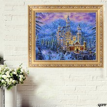 DIY 5D Diamond Ancient Castle Embroidery Painting Cross Stitch Home Decor Craft(China)