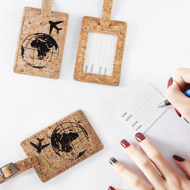 Hot New 1pcs Earth Suitcase Leather Luggage Tag Label Bag Pendant Handbag Travel Accessories Name ID Address Tags
