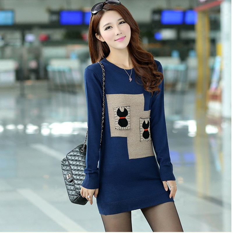 Women Knitting Sweater Winter Autumn Mid-length Thick Pullover Slim Warm 2019 Fashion Korean Casual Sweater Plus Size Clothes