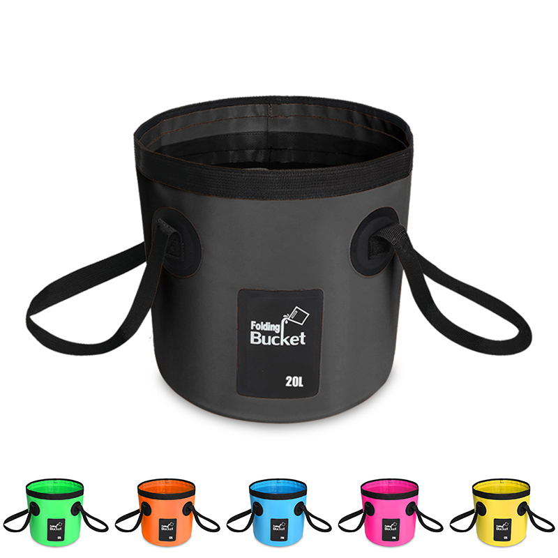 12L/20L 500D folding bucket fishing waterproof buckets portable folding bag storage outdoor car wash camping fishing bucket title=