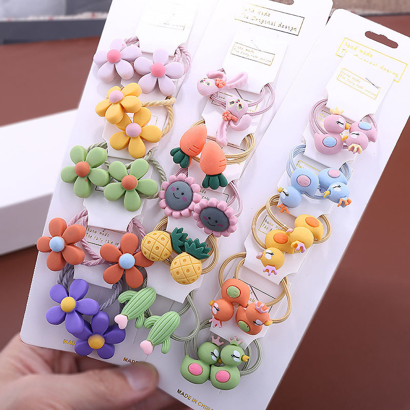 10Pcs/Set Cute Cartoon Animals Fruit Girls Elastic Hair Bands Ponytail Holder Rubber Bands Gum Scrunchie Kids Hair Accessories