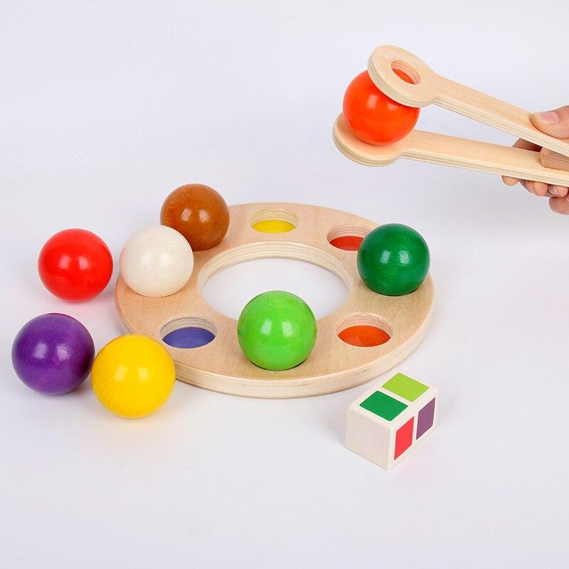 Reproduction en bois cerveau arc-en-ciel pince balle jouet drôle arc-en-ciel billard exercice main oeil coordination éducation précoce Puzzle enfant jouet - 4