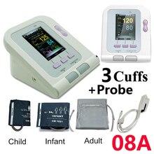 08A Digital Blood Pressure Monitor Upper Arm Electronic Sphygmomanoter Heart Rate PR BP Meter Adult Infant Child 3 Cuff+Probe