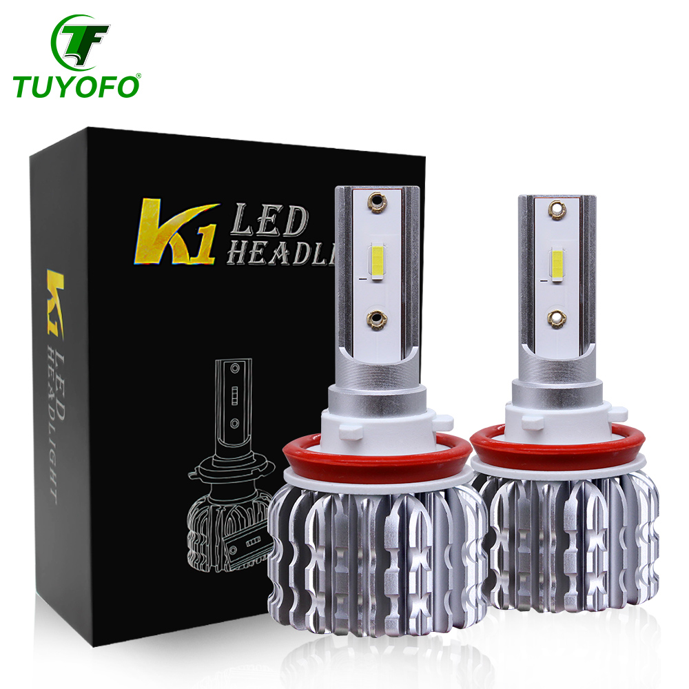 Tuyofo 2 pièces H7 LED 12000LM/PAIRE Mini Voiture Phares Ampoules H1 LED H7 H8 H9 H11 Phares Kit 9005 HB3 9006 HB4 Auto lampes LED title=