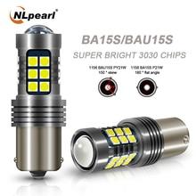 NLpearl 2x Signal Lamp BA15S P21W BAU15S PY21W 1156 LED 3030 SMD Bay15d Led 1157 P21 5W Auto Turn Signals Light Reversing Lamp