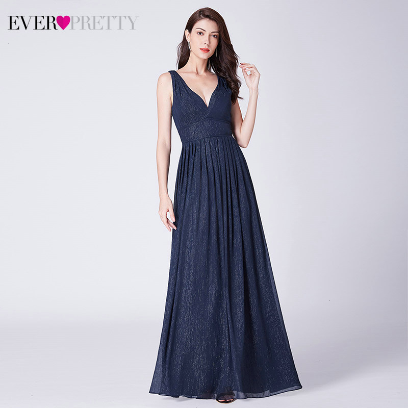 Elegant Navy Blue Evening Dresses Ever Pretty EP07465NB Deep V-Neck Sleeveless Long Chiffon Evening Gowns Vestidos Largos 2019