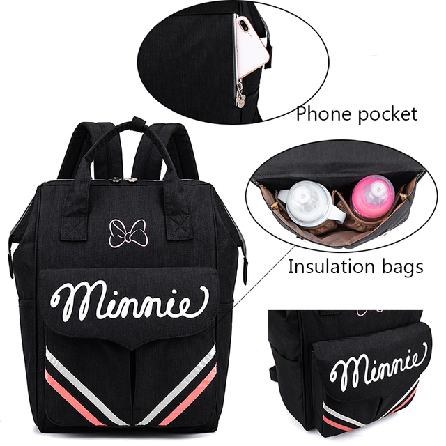 2020 Disney Baby Bag For Mom Diaper Bag Maternity Changing Bag With Hooks Mickey Minnie Mouse Bag For Mom Travel Nursing Bag   Happy Baby Mama