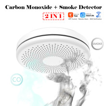Tuya WIFI Smart 2 in 1 Smoke & CO Detector Carbon Monoxide Sensor Voice Warn Sensor Phone Alarm Home Security Protection