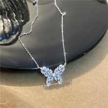 Butterfly Necklace Jewelry Pendant Cubic-Zircon-Collar Delicate Luxury Women for Romantic
