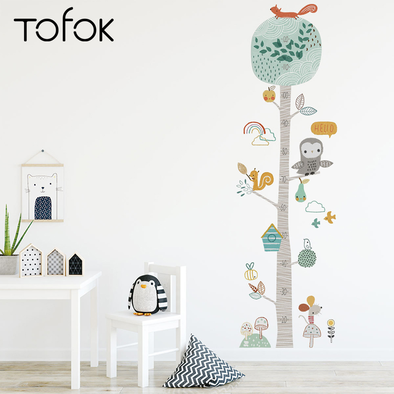 Tofok DIY Forest Animal Trees Height Wall Sticker Decor Nordic Ins Children Height Measure Mural Decals Nursery Lovely Wallpaper