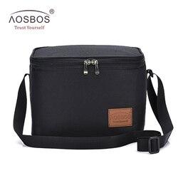 Aosbos المحمولة الحرارية الغداء حقيبة للنساء الاطفال الرجال الكتف الغذاء نزهة برودة صناديق أكياس معزول حمل حقيبة تخزين الحاويات