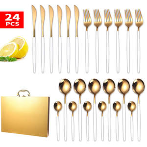 Stainless Steel Knife Fork Spoon Gold Dinnerware Set Food Grade Luxury Tableware Set Gift Box Dishwasher Safe Home Cutlery Set