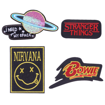 Pulaqi Anime Character Nirvana Viking Patch Stranger Things Iron On Embroidered Patches For Clothing Bowie Stickers On Clothes image