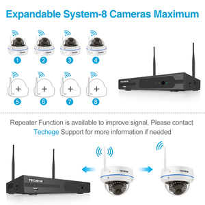 Image 2 - Techege 8CH 1080P Drahtlose CCTV System WiFi NVR Kit 2MP Outdoor Wasserdicht Vandalen Kuppel Kamera IP Wifi Sicherheit System kit